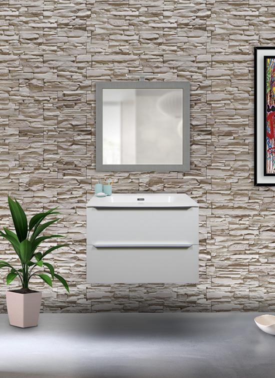 Mobile bagno 2 cassetti bianco opaco 70 cm + lavabo Quarzimar, specchio e lampada