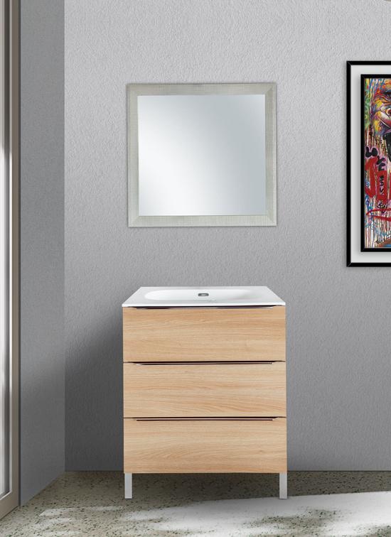 Mobile bagno a terra 70 cm rovere naturale con lavabo Quarzimar, specchiera e lampada