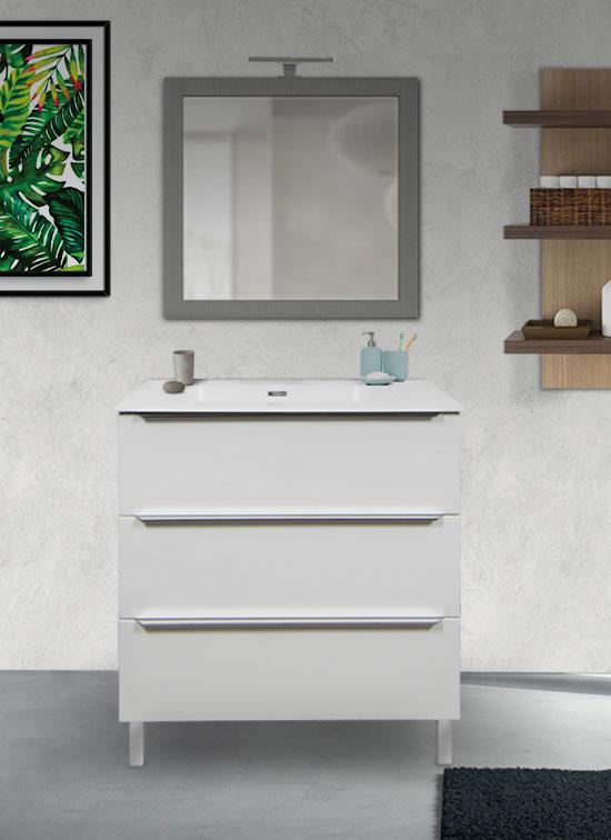 Mobile bagno a terra bianco frassinato 80 cm con lavabo Quarzimar