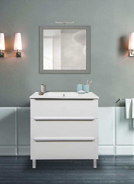 Mobile bagno a terra bianco lucido 80 cm con lavabo in ceramica, specchio e lampada LED