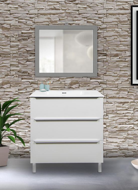 Mobile bagno a terra 90 cm bianco lucido con 3 cassetti + lavabo, specchio e lampada LED