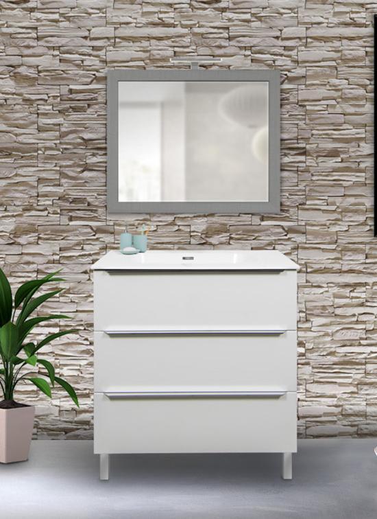 Mobile bagno a terra bianco lucido da 105 cm, compreso di lavabo, specchio e lampada