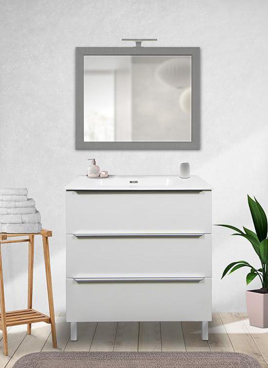 Mobile bagno a terra bianco opaco 105 cm con lavabo in Quarzimar, specchiera e luce a LED