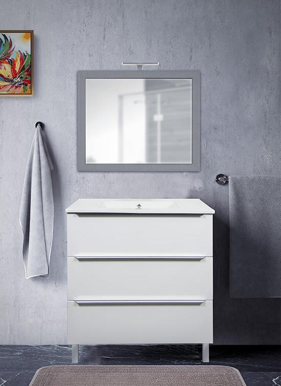Mobile bagno a terra bianco opaco 80 cm con lavabo in ceramica, specchio e lampada LED