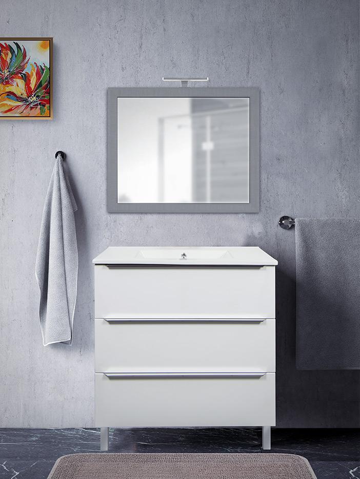 Mobile Bagno 80 Cm.Mobile Bagno 3 Cassetti Bianco Opaco Da 80 Cm Con Lavabo In Ceramica