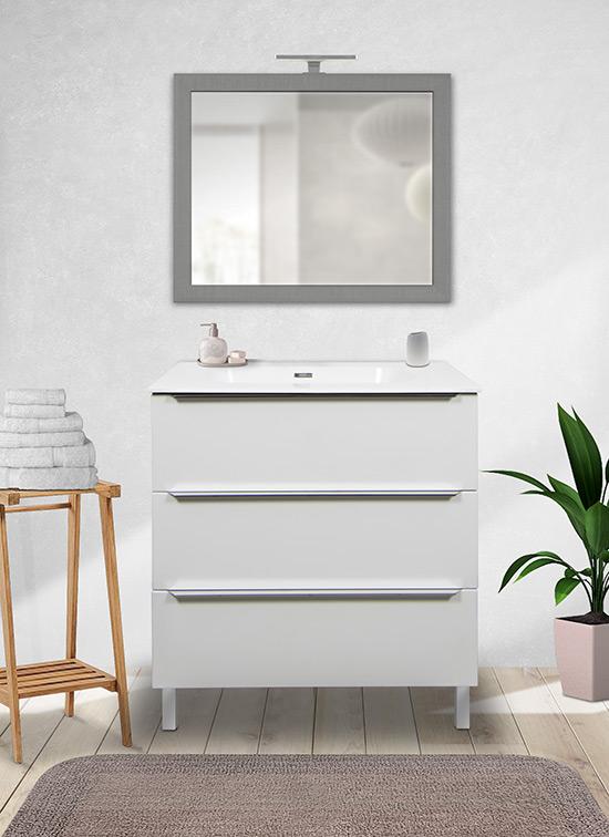 Mobile bagno a terra bianco opaco 80 cm con lavabo Quarzimar, specchio e lampada LED