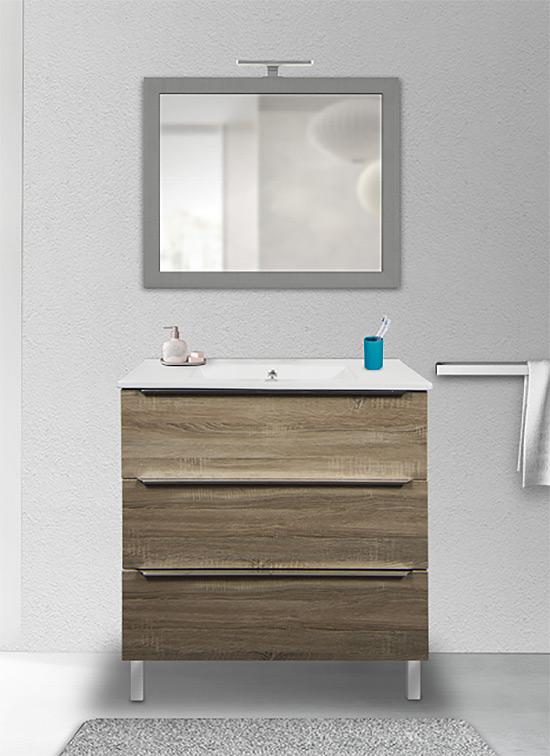 Mobile bagno a terra rovere chiaro 80 cm con lavabo in ceramica, specchio e lampada LED