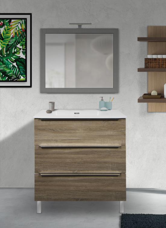 Mobile bagno a terra rovere chiaro 80 cm con lavabo Quarzimar, specchio e lampada LED