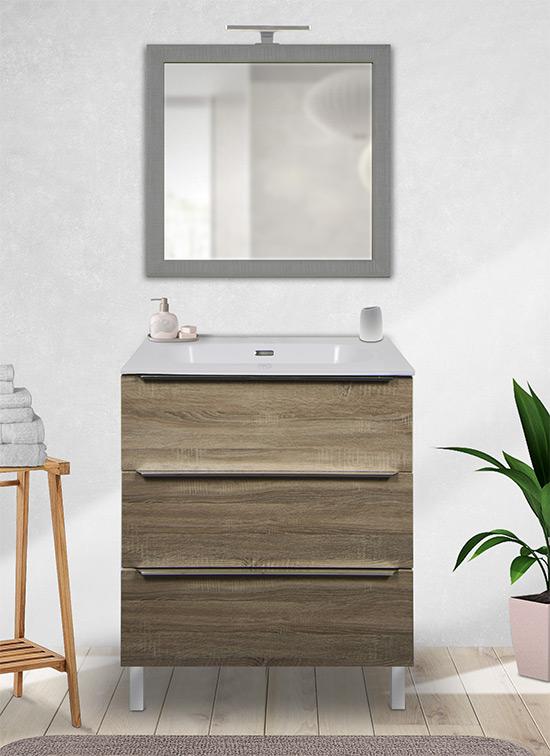 Mobile bagno a terra 70 cm rovere chiaro con lavabo Quarzimar, specchiera e lampada