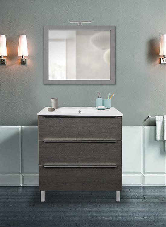 Mobile bagno a terra rovere scuro 80 cm con lavabo in ceramica, specchio e lampada LED