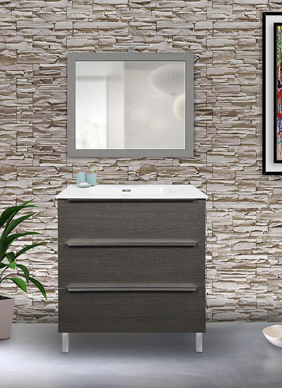 Mobile bagno a terra rovere scuro 80 cm con lavabo Quarzimar, specchio e lampada LED