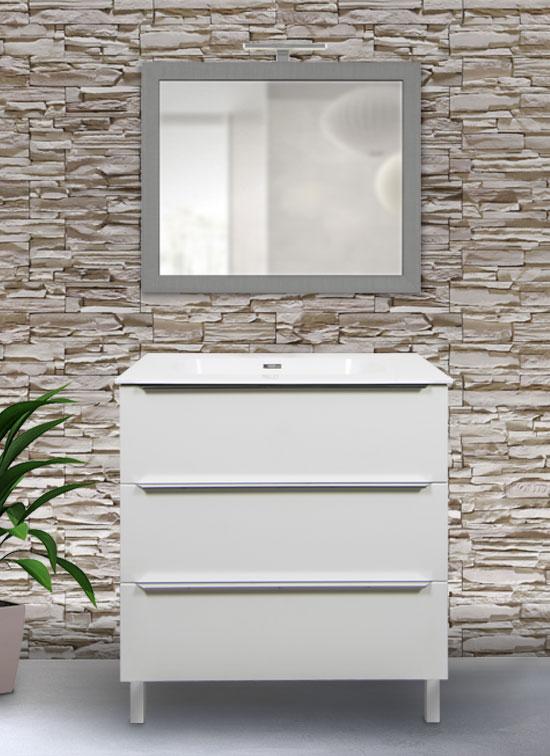 Mobile bagno moderno a terra 70 cm bianco frassinato + lavabo Quarzimar