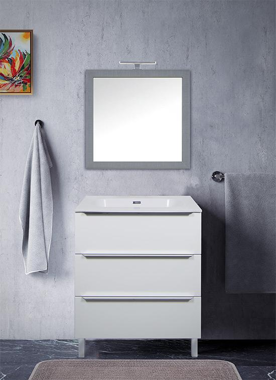 Mobile bagno moderno a terra 70 cm bianco lucido + lavabo Quarzimar, specchio e lampada