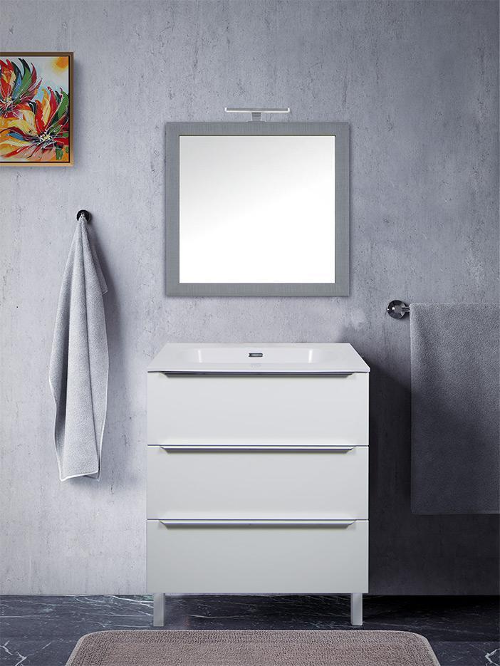 Specchio Bagno 80 X 70.Mobile Bagno Bianco A Terra Mobile Bagno Moderno Vepor