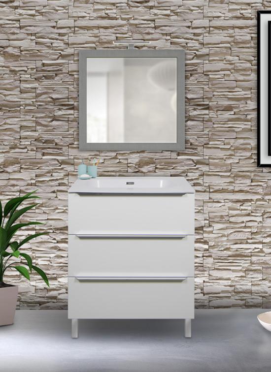 Mobile bagno laccato bianco opaco 60 cm con lavabo Quarzimar, specchio e lampada LED