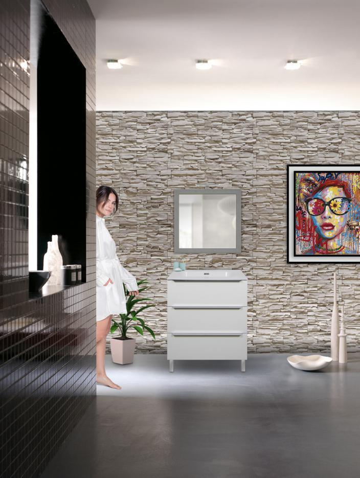 Immagini Bagno Moderno.Mobile Bagno 3 Cassetti Bianco Opaco Da 70 Cm Con Lavabo Quarzimar