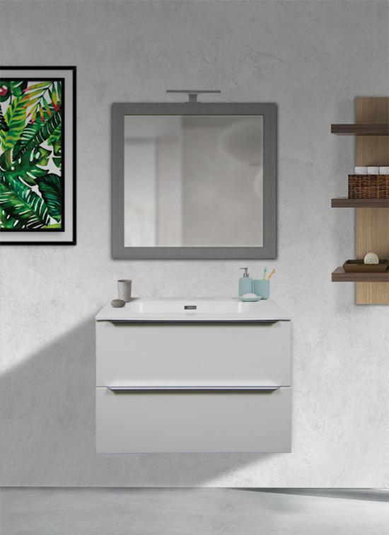 Mobile bagno moderno bianco lucido 70 cm con lavabo Quarzimar, specchiera e lampada