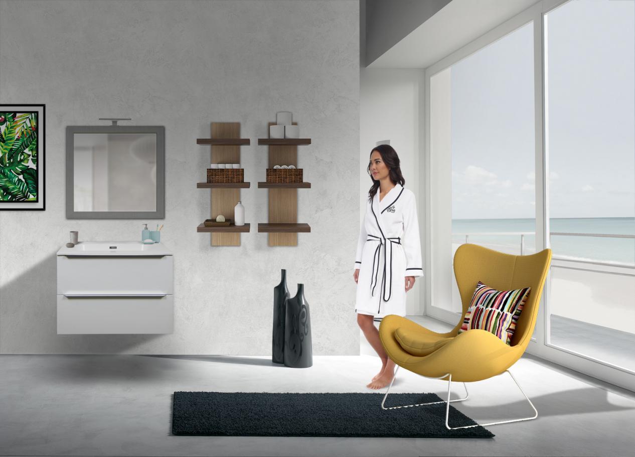 Armadietto Bagno Moderno mobile bagno 2 cassetti bianco lucido da 70 cm con lavabo quarzimar