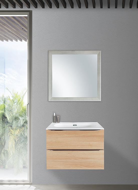 Mobile bagno sospeso 70 cm rovere naturale 2 cassetti + lavabo Quarzimar, specchio e lampada