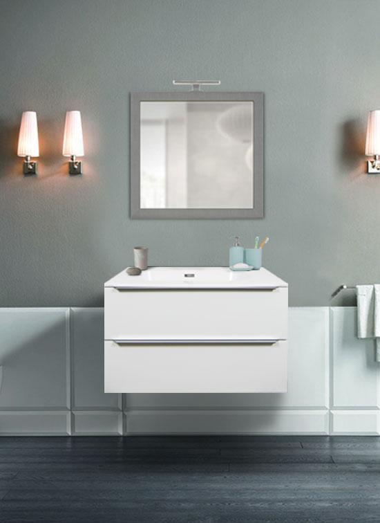 Mobile bagno sospeso bianco frassinato 80 cm con lavabo da appoggio in ceramica