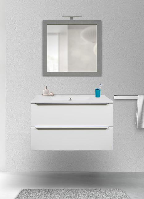 Mobile bagno sospeso bianco lucido 105 cm con lavabo Quarzimar, specchio moderno e lampada LED