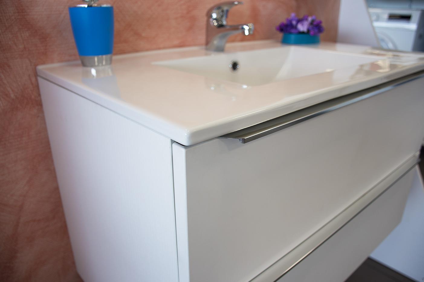 Mobile bagno 2 cassetti bianco lucido da 80 cm con lavabo in ceramica