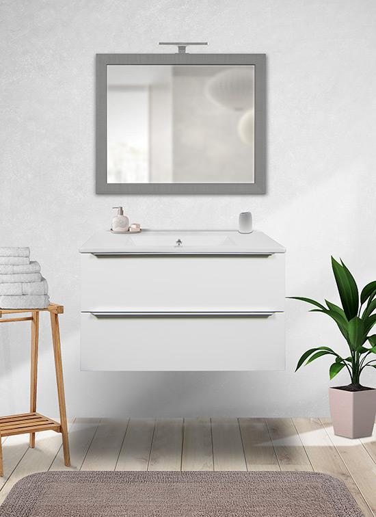 Mobile bagno sospeso bianco lucido 80 cm con lavabo in ceramica, specchio e lampada LED