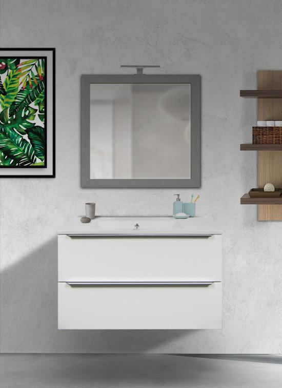 Mobile bagno sospeso bianco opaco 80 cm con lavabo in ceramica, specchio e lampada LED