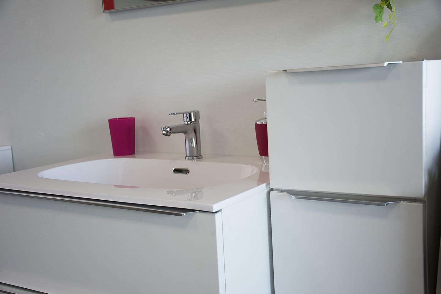 Mobile bagno 2 cassetti bianco opaco da 80 cm con lavabo Quarzimar