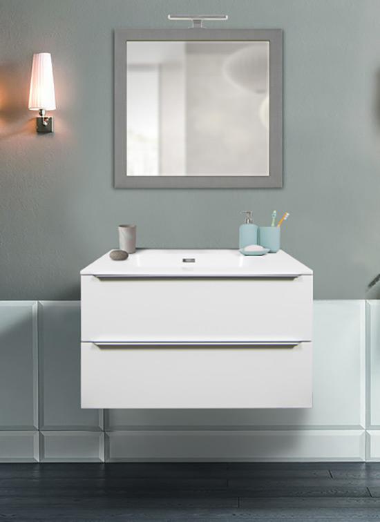 Mobile bagno sospeso bianco opaco 80 cm con lavabo Quarzimar, specchio e lampada LED