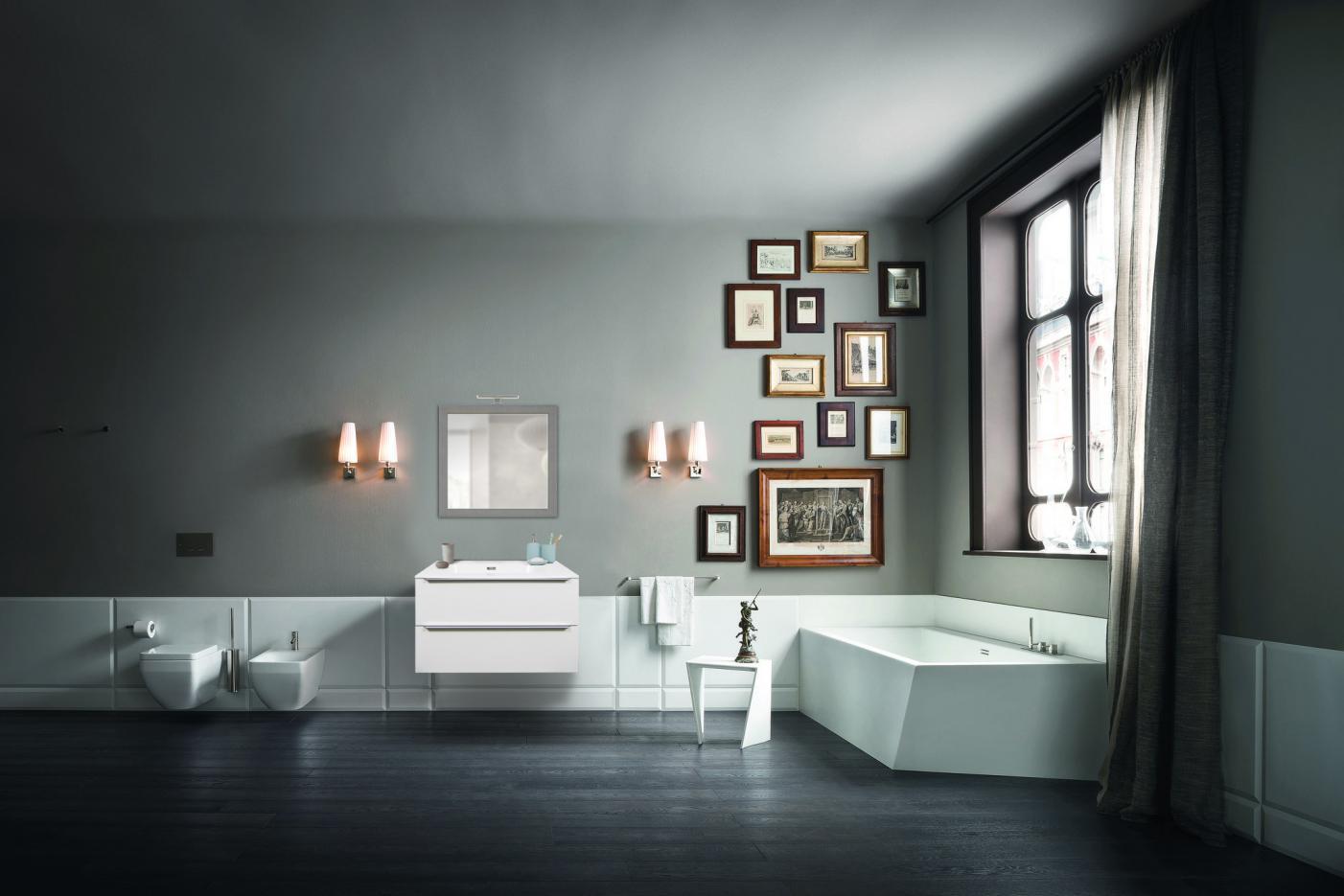 Immagini Bagno Moderno.Mobile Bagno 2 Cassetti Bianco Opaco Da 90 Cm