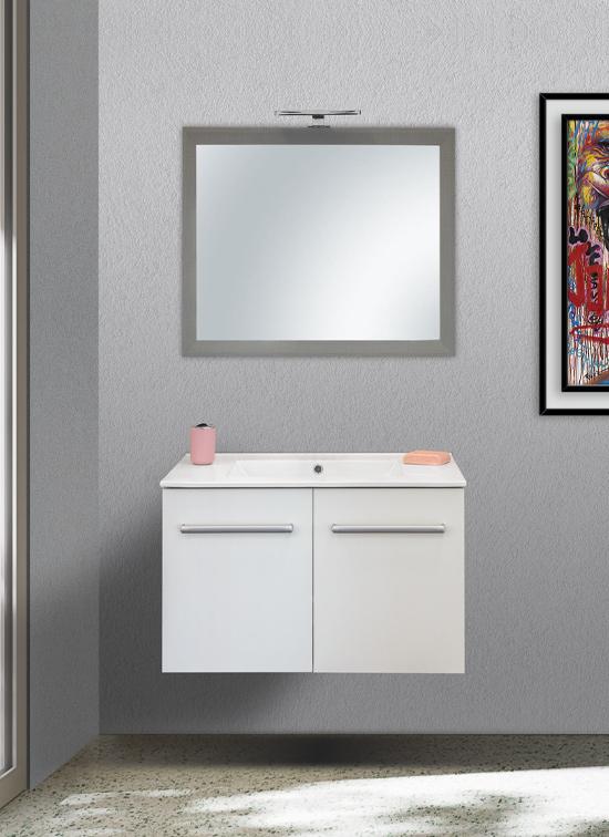 Mobile bagno sospeso bianco opaco nobilitato 80 cm con lavabo in ceramica, specchio e lampada LED