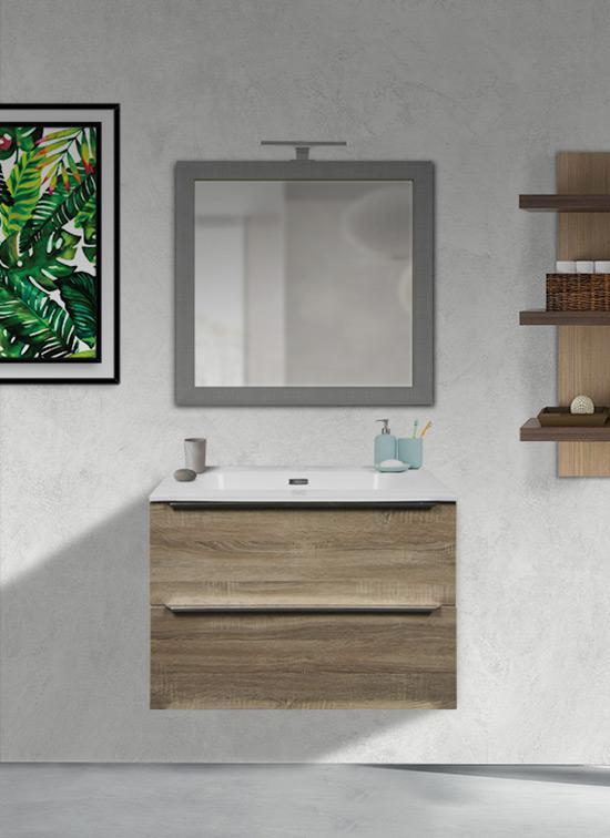Mobile bagno sospeso 70 cm rovere chiaro 2 cassetti + lavabo Quarzimar, specchio e lampada