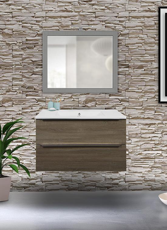 Mobile bagno sospeso rovere chiaro 80 cm con lavabo in ceramica, specchio e lampada LED