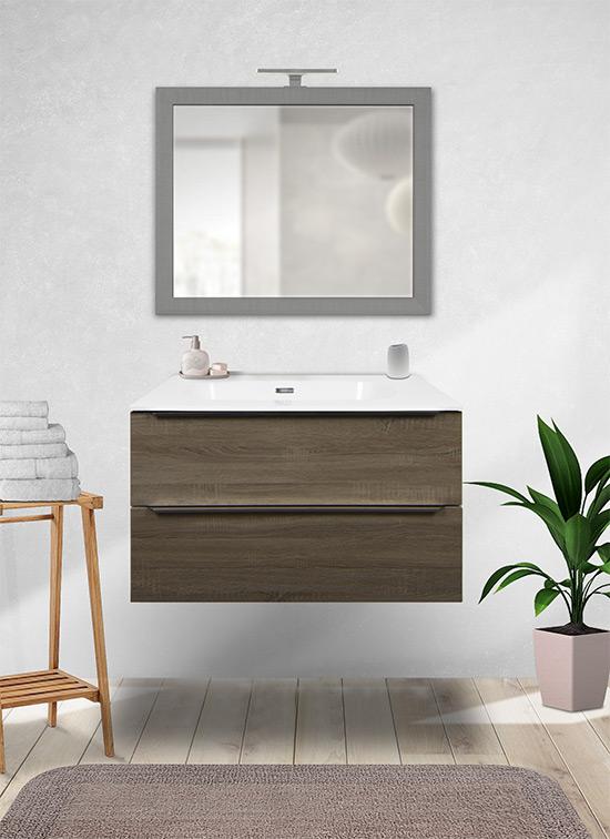 Mobile bagno sospeso rovere chiaro 80 cm con lavabo Quarzimar, specchio e lampada LED
