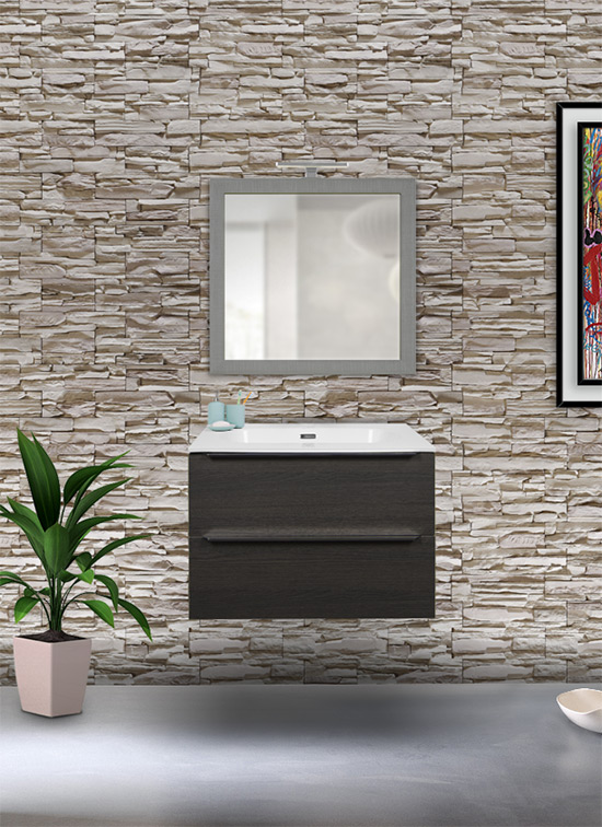 Mobile bagno sospeso rovere scuro 60 cm con lavabo Quarzimar, specchio e lampada