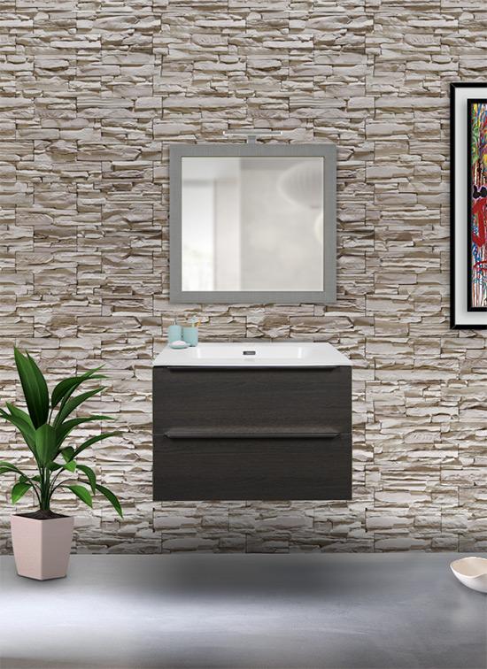 Mobile bagno sospeso rovere scuro 70 cm con lavabo Quarzimar, specchio e lampada LED