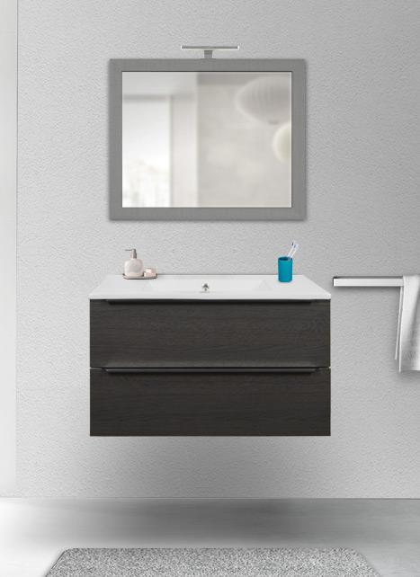 Mobile bagno sospeso rovere scuro 80 cm con lavabo in ceramica, specchio e lampada LED