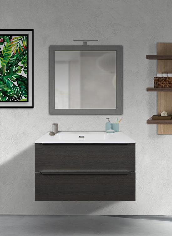 Mobile bagno 90 cm sospeso rovere scuro con lavabo Quarzimar, specchio e lampada