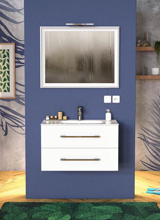 Mobile bagno VENETO bianco opaco 90 cm con lavabo Quarzimar