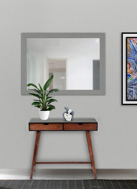 Specchio con cornice silver 90 x 65 cm