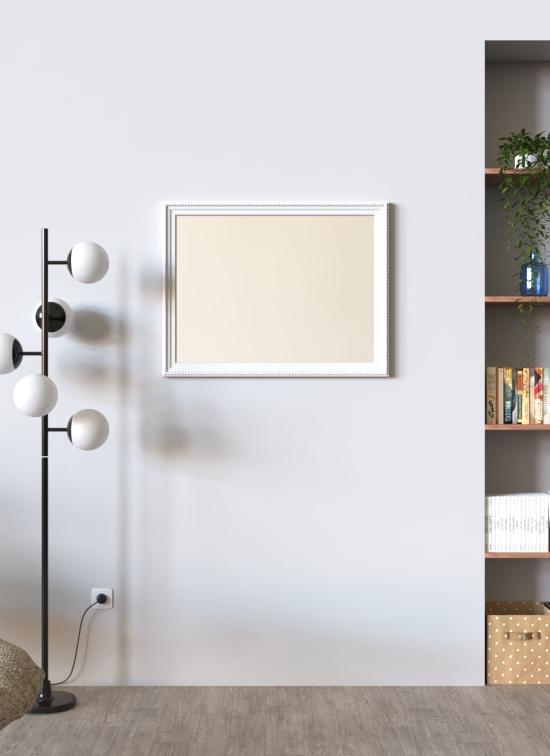 Specchio Milano con cornice in legno bianco decorato orizzontale