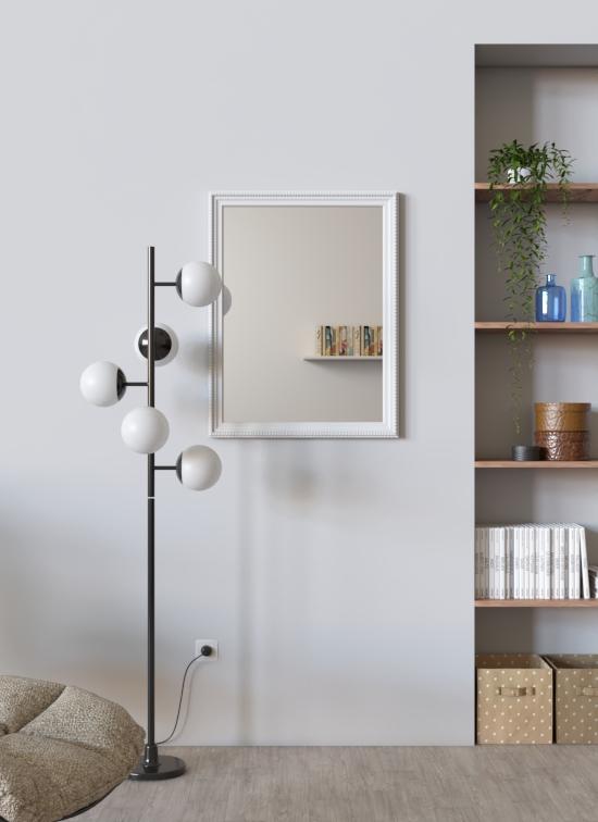 Specchio Milano con cornice in legno bianco decorato verticale