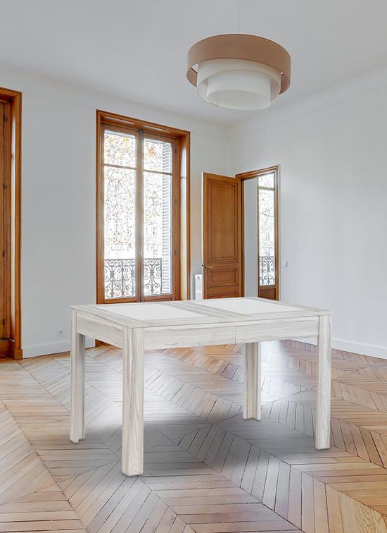 Tavolo allungabile 80x120 cm, bianco frassinato con piastre in alabastrino e cassettone portastoviglie