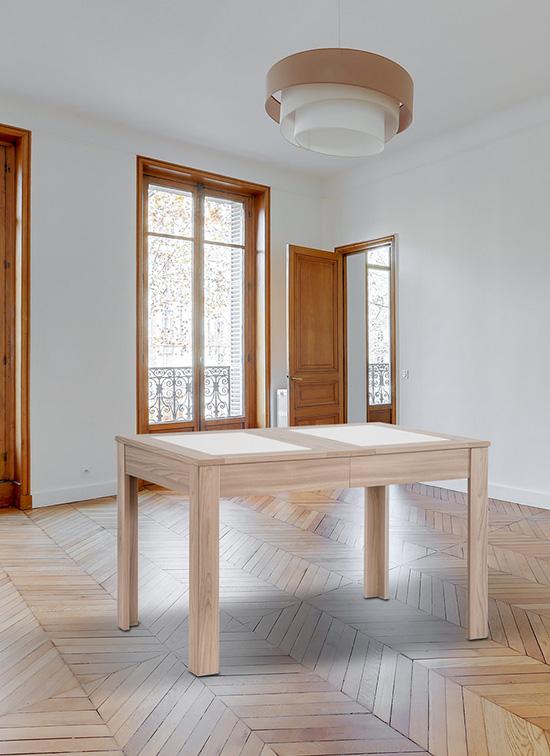 Tavolo allungabile 80x120 cm in rovere naturale, piastre in alabastrino e cassettone portastoviglie