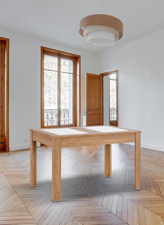 Tavolo allungabile 80x120 cm rovere con due piastre in alabastrino e cassettone portastoviglie