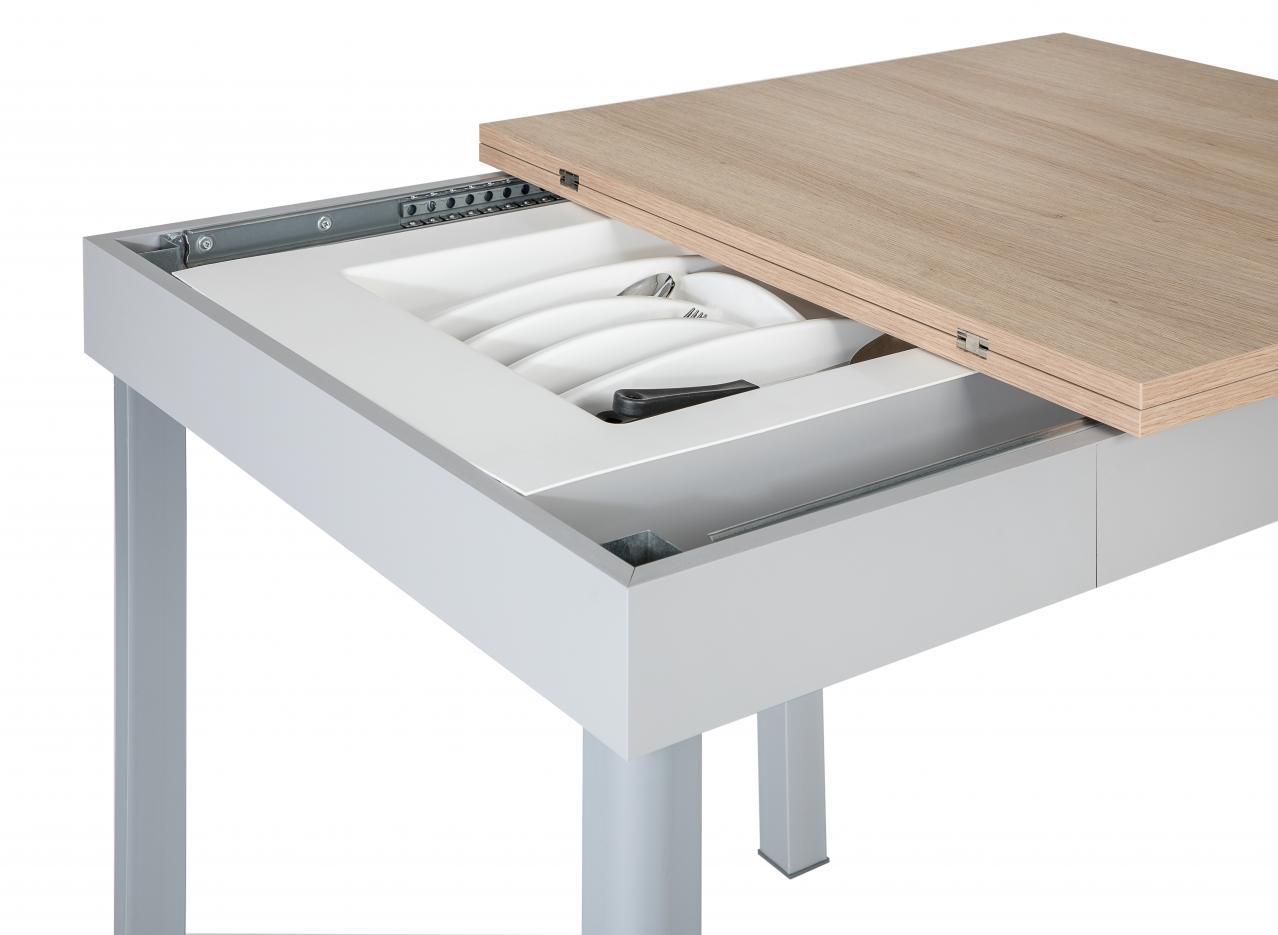 Tavolo quadrato 80x80 cm allungabile rovere e cassettone portastoviglie
