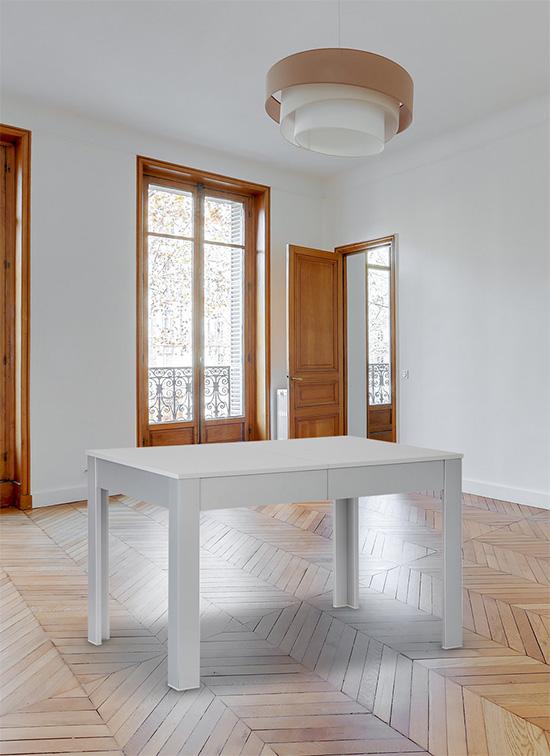Tavolo allungabile in legno 80x120 cm di colore grigio con cassettone portastoviglie