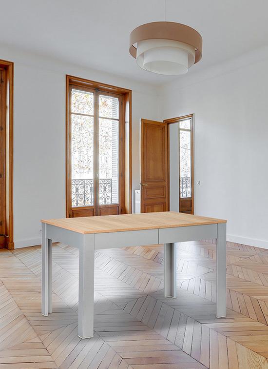 Tavolo allungabile in legno 80x120 cm piano in rovere + cassettone portastoviglie