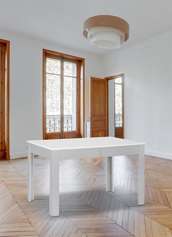 Tavolo allungabile moderno 80x120 cm di colore bianco + cassettone portastoviglie